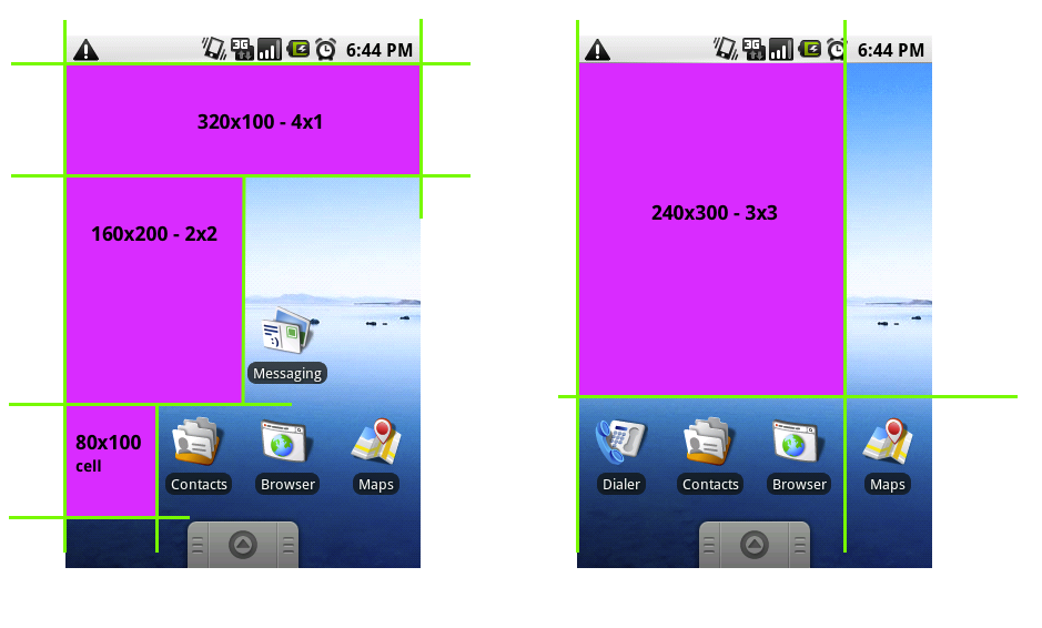Widget dimensions in portrait orientation