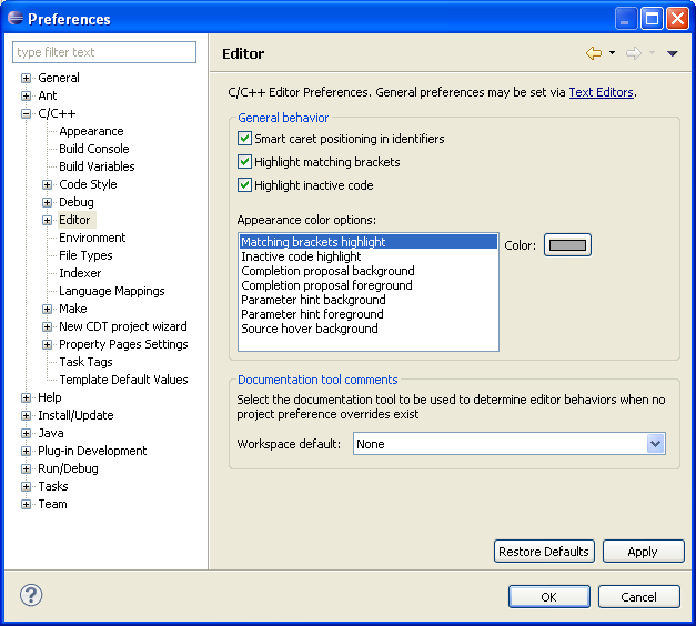 Set general preferences for the editor click the general tab