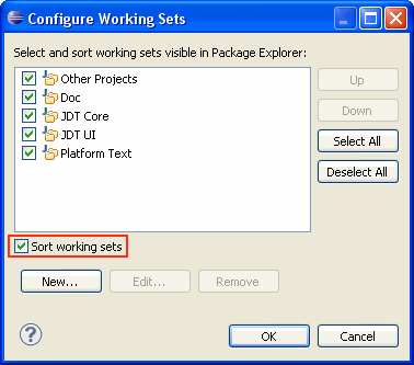 how to use java working set in package explorer